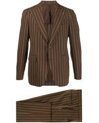 Tagliatore Striped-print Slim-fit Suit - Brown