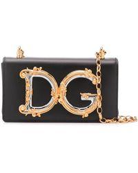 Dolce & Gabbana Bandolera con placa del logo - Negro