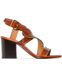 Chloé - Brown Candice 70 Leather Sandals - Lyst