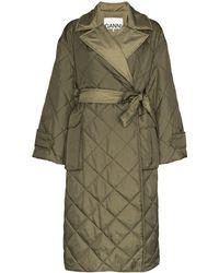 Ganni Стеганое Пальто С Поясом - Зеленый