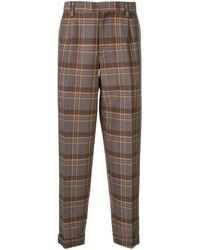 Kolor Plaid Pattern Trousers - Brown