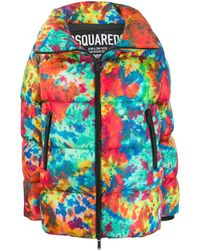 DSquared² Printed Puffer Jacket - Red