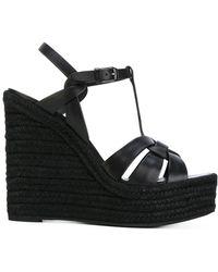 Saint Laurent Espadrilles Wedge Sandals In Leather - Black