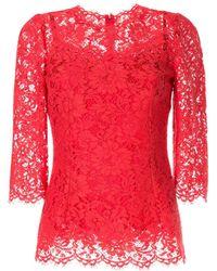 Dolce & Gabbana - レース パターン ブラウス - Lyst