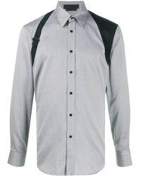 Alexander McQueen Рубашка В Диагональную Полоску - Серый