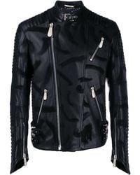 Philipp Plein スカル ライダースジャケット - ブラック