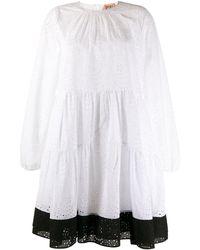 N°21 Расклешенное Кружевное Платье - Белый