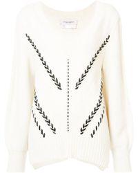 Carolina Herrera - V-neck Ribbon Detail Sweater - Lyst