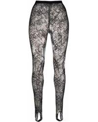 La Perla Floral-lace Tights - Black
