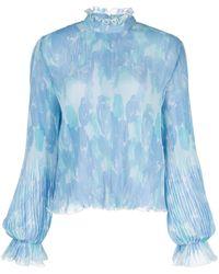 Ganni Blouse Met Bloemenprint - Blauw