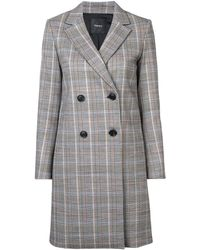 Theory Double-breasted Plaid Coat - Grey