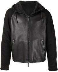 Emporio Armani レザーパネル フーデッドジャケット - ブラック
