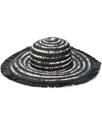 Etro Woven Floral Print Beach Hat - Black