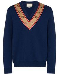 Gucci V-neck GG Motif Sweater - Blue