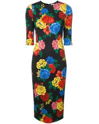 Alice + Olivia Floral Print Fitted Dress - Black