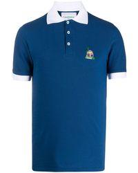 CASABLANCA コントラストカラー ポロシャツ - ブルー