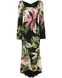 Christian Siriano Hawaiian Print Fitted Dress - Green
