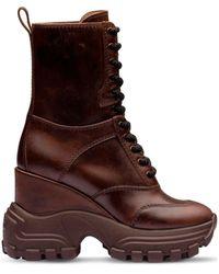 Miu Miu Chunky Platform Sole Boots - Brown