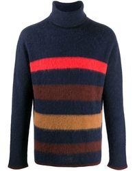 Lanvin ストライプ タートルネックセーター - ブルー
