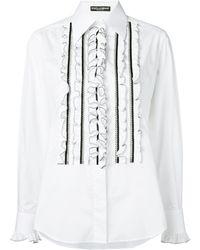 Dolce & Gabbana ラッフルビブ シャツ - ホワイト