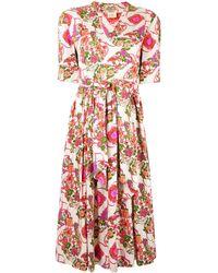 Hermès プレオウンド フローラル ラップドレス - ホワイト
