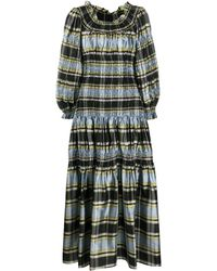 Tory Burch Bold Stripe Prairie Dress - Green