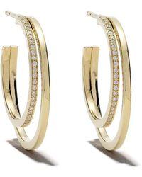 Georg Jensen 18kt Yellow Gold Halo Brilliant Cut Diamond Earrings - Metallic