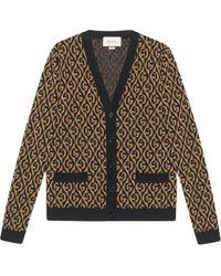 Gucci - Cardigan motivo G rombi jacquard - Lyst