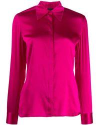 Pinko Camisa con cuello de pico - Rosa