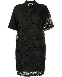 N°21 フローラルレース シャツドレス - ブラック