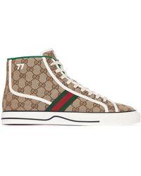 Gucci Высокие Кеды Tennis 1977 - Коричневый