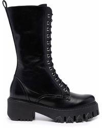 Patrizia Pepe Botas con cordones y suela gruesa - Negro