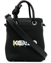 KENZO Logo Print Bucket Bag - Black
