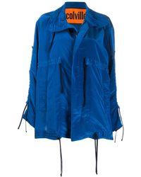 Colville Oversized Drawstring Rain Jacket - Blue