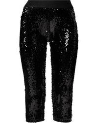 Junya Watanabe スパンコール クロップドパンツ - ブラック