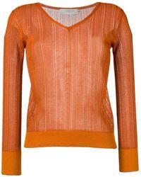 L'Autre Chose クロシェ Vネックセーター - オレンジ