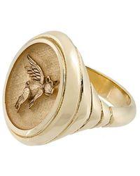 Retrouvai 14kt Gold Flying Pig Signet Ring - Metallic