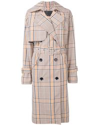 Christian Wijnants Check Print Chika Trench Coat - Orange