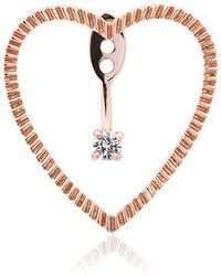 Yvonne Léon - 18k Rose Gold And Diamond Heart Earring - Lyst
