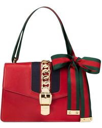 ca7aa601c Gucci 'sylvie' Mini Chain Web Leather Crossbody Bag in Blue - Lyst
