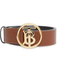 Burberry Men's Tb-buckle Topstitched Leather Belt - Brown