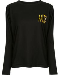 AALTO Pleated Logo T-shirt - Black