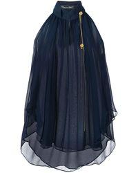 Oscar de la Renta Layered Sleeveless Blouse - Blue