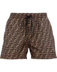 Fendi Ff Logo Swim Shorts - Brown