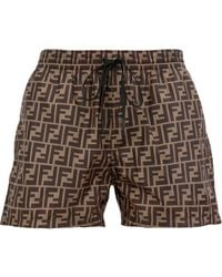 Fendi Ff Logo Swim Shorts - Brown
