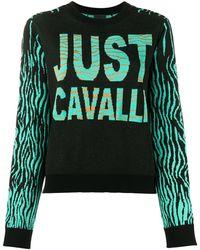 Just Cavalli インターシャ セーター - ブラック