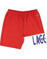 Supreme X Lacoste Logo Panel Sweat Shorts - Red