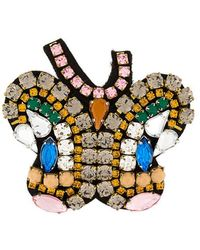P.A.R.O.S.H. Butterfly Embellished Brooch - Gray