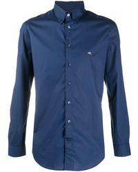 Etro Рубашка С Вышитым Логотипом - Синий