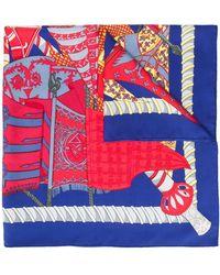 Hermès Pre-owned Sjaal Met Print - Blauw